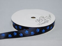 Black  with Royal Blue Paw Print  Satin or Grosgrain ribbon 2, 20 25 metres Double sided 16mm 15mm
